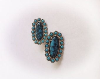 Vintage Faux Turquoise Earrings Clip On