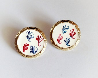 Vintage Gold Tone Metal Earrings Enamel Red White and Blue