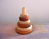 First Birthday Gift - Sturdy Wooden Stacking Rings - Maple, Bubinga and Jatoba Wood Stacking Toy