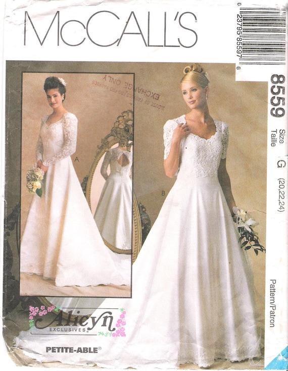 McCalls 8559 Wedding Dress Princess Seams Keyhole Back Sewing
