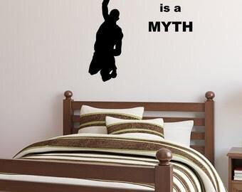 Basketball Player, Dunk, Hoop, Vinyl Wall Decal, Sport, Gravity Is A Myth, Hang Time, Posterize, Boys Room, Slam Dunk, Michael Jordan, NBA,