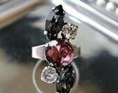 Antique Silver Adjustable Crystal Statement Ring, Amethyst, Clear Crystal and Crystal Silver Shade Swarovski Crystals