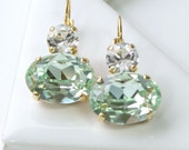 Fresh Light Green Swarovski Crystal Ovals with Clear Crystals on Top, Dangle Leverback Earrings in Gold