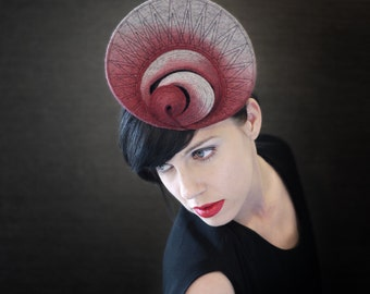 Modern Ombre Magenta and Grey Industrial Felt Fascinator - Orbital Series - Made to Order