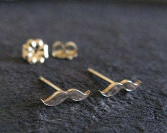 Super tiny mustache stud earrings. Gold filled, sterling silver or solid 14k yellow gold. Minimalist steampunk hipster posts Fun Unique gift