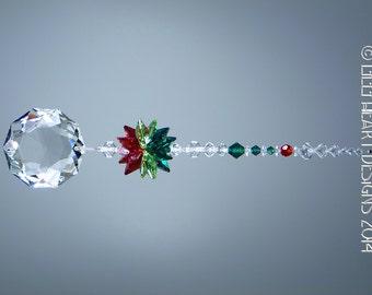 Suncatcher m/w Swarovski Crystal Christmas Flower Dahlia with Holiday Colors Ornament Star Top Car Charm Lilli Heat Designs