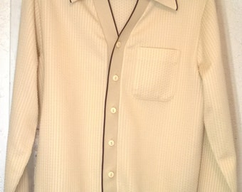 Vintage 1960s Knit Shirt by Knitmaster California, Trevira Polyester, Cream with Brown Trim, Cardigan Sweater