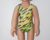 "Green Leopard Swimsuit Doll Clothes Corolle 13"" Les Cheries or 14"" Heart for Hearts  Betsy McCall tkct375"