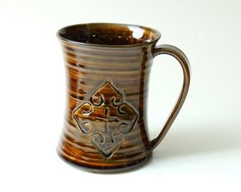 Mug Ceramic, Autumn Celadon Brown 14 oz Large