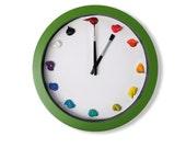 Artist Canvas Paint Clock , 3D paint daubs - Color Options, CUSTOMIZABLE - art studio, nursery, playroom wall decor or artist painter gift