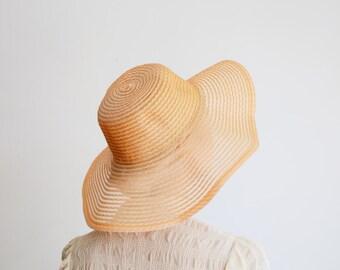1960s Orange Floppy Hat Wide Brim