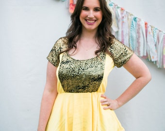 Short Sleeved Top-Yellow Peplum Top-Unique Fashion-Upcycled Fashion-Circle Skirt