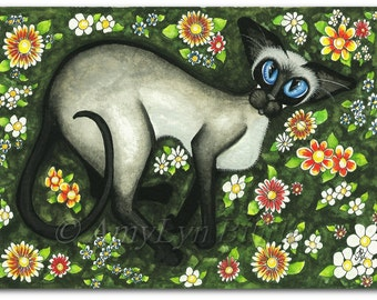 Siamese Cat Teddy Bear Mothers Day Art - Original Painting Signed AmyLyn Bihrle ck398