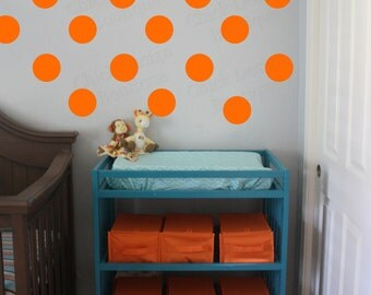 Dark Orange Vinyl Wall Circle Polka Dot Decals