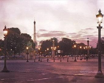 Paris Photography, Eiffel Tower Place de la Concorde Plaza, Paris Night Lights, Dreamy Eiffel Tower Landmarks, Paris Romantic Street Lamps