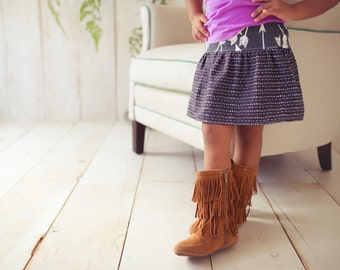 Girl's Skirt - Arrow and Stripe Design on Dark Grey  Skirt for Baby, Toddler and Youth Child - Quality Handmade Clothing