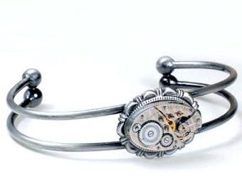 Steampunk 1930s Elgin Watch Movement Bracelet
