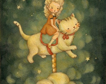 The Kitty Carousel Print 8x10 - Children's Art, Nursery, Wall Art, Girl, Cat, Kitten, Night, Bedtime, Stars, Cute, Blue, Cream, Yellow, Red