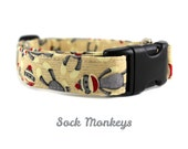 Sock Monkeys Dog Collar - Made to Order in Your Choice of Size