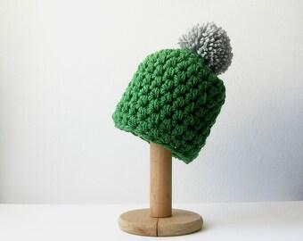 Green Pom Pom Beanie Knit Hat with Grey  Pompom Chunky Women's Beanie