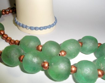 Recycled African Glass and Copper Beads
