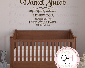 Baby Nursery Name and Scripture Wall Decal - Before I Formed You in the Womb Christian Scripture Jeremiah 1 5 Wall Decal BA0423