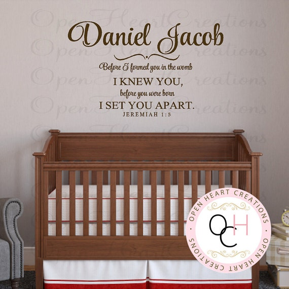 baby nursery name and scripture wall decal before i formed
