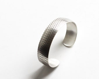 "Domed silver cuff, modern silver bracelet with a geometric chevron pattern embossed on the surface - ""Small Chevron Cuff"""