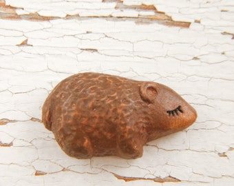 Little Brown Bear bead - Sleepy Woodland Critters hand painted forest animal bead (ready to ship)
