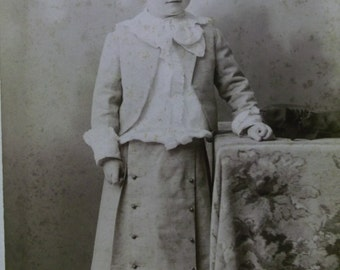 Cute Little Boy  in Button Skirt - Ruffled Shirt - Button Boots - Antique Cabinet Photo - New Haven, CT - 1800's