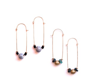 Terci Earrings - gray ceramic or turquoise gold fill hoops