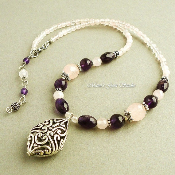 popular items for amethyst necklace on etsy