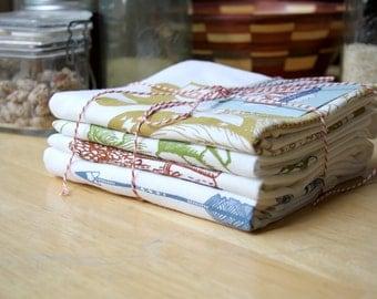 4 Pack - Flour Sack Towels - Hand Screen Printed