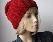Hand Knit Hat, Cranberry Red Watchman Cap, The Alex Hat, Slouchy Hat, Vegan Knits, Mens Beanies, Winter Hat, Mens Hat, Womens Hat