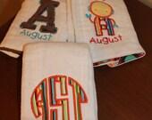 Baby Burp Cloth Set with Bag- Custom order for Rachel