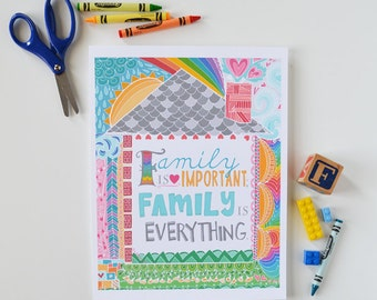 Family, Family is Everything, Family Values, Family Motto, Inspiring Quote, Home is Where the Heart is, Art Print