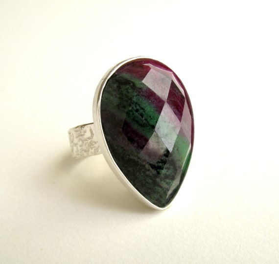 Zoisite With Ruby Ring Sterling Silver Ring With Natural Zoisite With Ruby