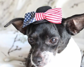 Cute  hat with american flag  bow for dogs or cats