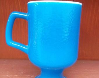 Vintage Milk Glass Pedestal Mug BLUE