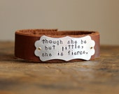 Personalized Leather Cuff Bracelet, Custom Quote, Little But Fierce, Saying, Names, Dates, Coordinates