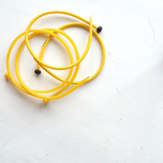 SALE set of 2 Bright Sunshine Yellow Bangle Plastic Knitting Needle Upcycled Recycled  SALE