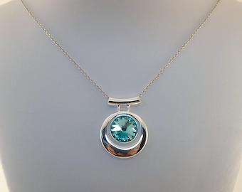 Turquoise Swarovski Necklace - Rivoli Necklace - Silver Necklace - Swarovski Necklace - Turquoise Necklace - Sterling Silver - N042