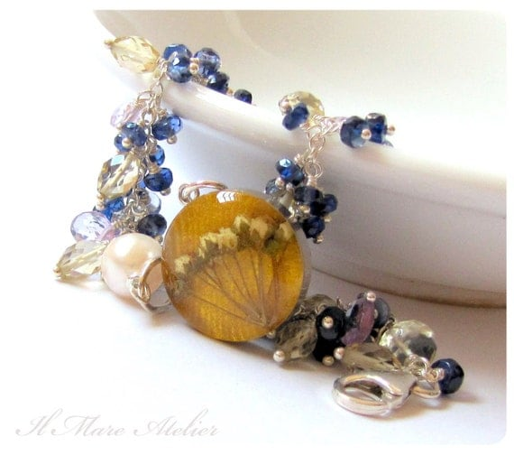 Amethyst and Sapphire Bracelet with handmade flower charm - Rose Jaune