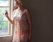 Vintage 80s Peachy Sheer And Satin Floral Negligee With High Low Hem  - Size Medium