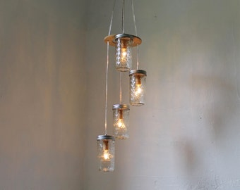 Morning Stars Mason Jar Chandelier - Hanging Mason Jar Lighting Fixture - Mason Jar Pendants Lamp - BootsNGus Modern Home Lights and Decor