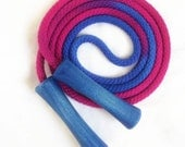Hand-dyed jump rope, sapphire and fuchsia with wooden handles