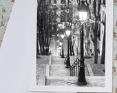 Paris Photo Notecard - Winter Evening, Street Lamps in Montmartre, Black and White Stationery, Blank Notecard