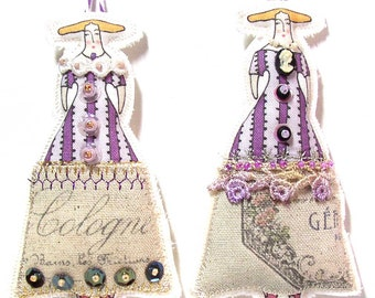Whimsical Tiny Embellished Stuffed Cloth Doll Ornaments Set of 2 Lady Dolls Tiny Purple Fabric Art Dolls