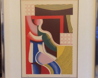 Georgi  Daskaloff Bulgaria  signed numbered matted framed mid century art titled the Artist