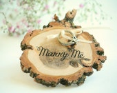 Marry Me Ring Pillow - Outdoor wedding ring pillow - Ring Bearer - Rustic Ring Pillow - Garden ring pillow